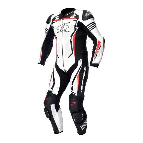 Tuta Intera In Pelle Spyke Assen Race 2.0 White/black/fluo Red