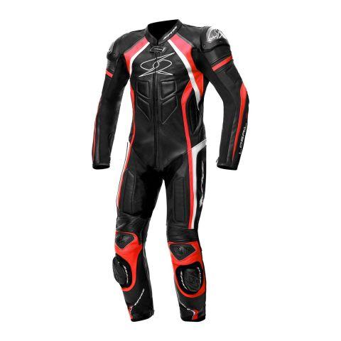 Tuta Intera In Pelle Spyke Losail Race Black/white/fluo Red