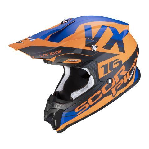 Casco Off Road Scorpion Vx-16 Air X-turn Matt Orange Blue