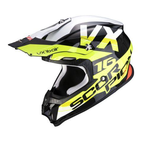 Casco Off Road Scorpion Vx-16 Air X-turn Black Neon Yellow Wh