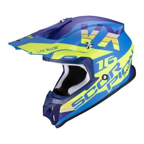 Casco Off Road Scorpion Vx-16 Air X-turn Matt Blue Neon Yello