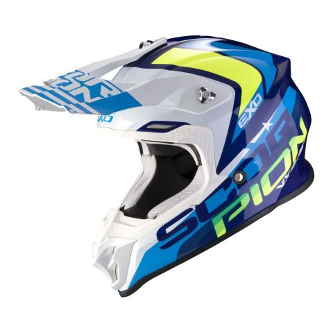 Casco Off Road Scorpion Vx-16 Air Nation White Neon Yellow