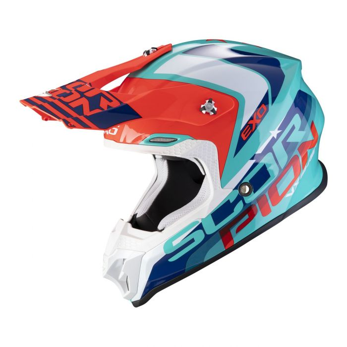 Casco Off Road Scorpion Vx-16 Air Nation Green Blue Red