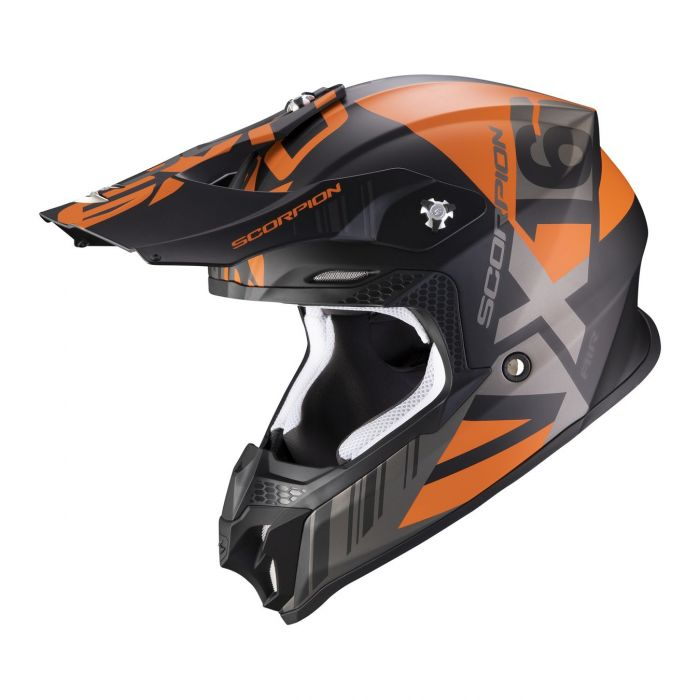 Casco Off Road Scorpion Vx-16 Air Mach Matt Black Orange