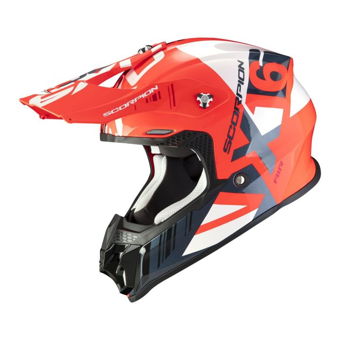 Casco Off Road Scorpion Vx-16 Air Mach Neon Red White