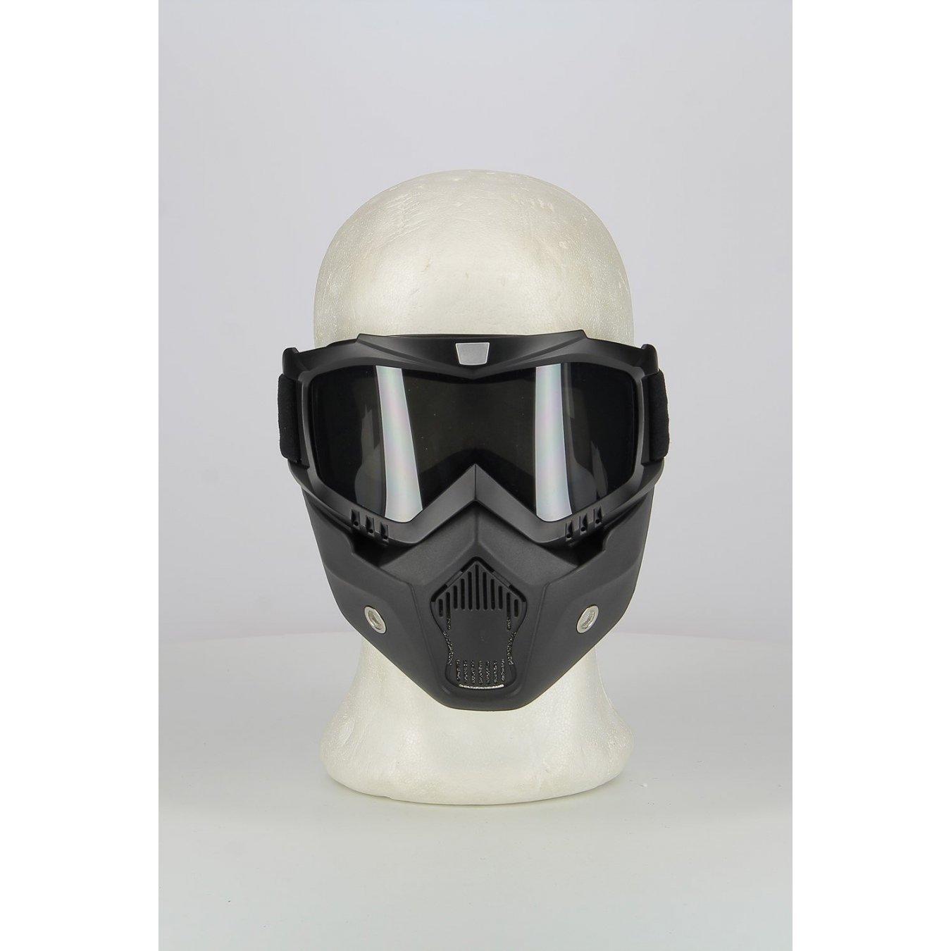 Moto Completo Maschera e Occhiali con Lenti Fum/è per Caschi Aperti