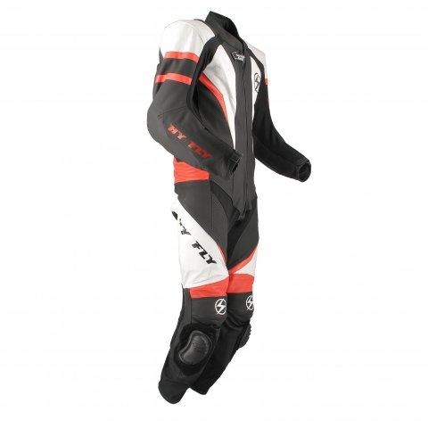 Tuta In Pelle Intera Hy-fly X8 Racing Con Gobba Black Red White