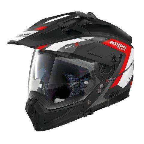 Casco Nolan N70-2 X Grandes Alpes N-com Flat Black Red