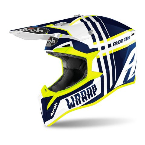 Casco Off Road Airoh Wraap Broken Blue Gloss