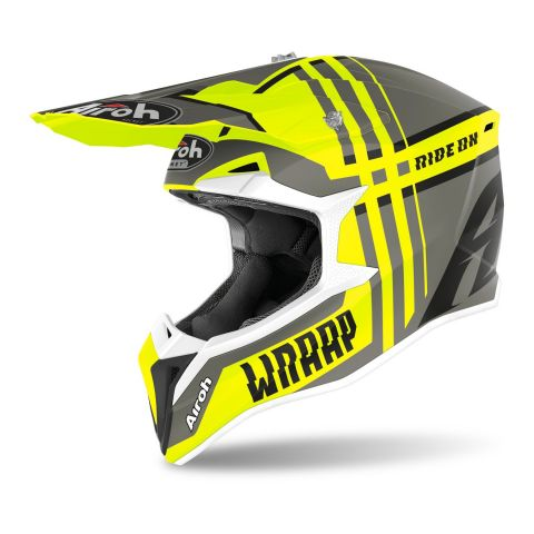 Casco Off Road Airoh Wraap Broken Yellow Matt