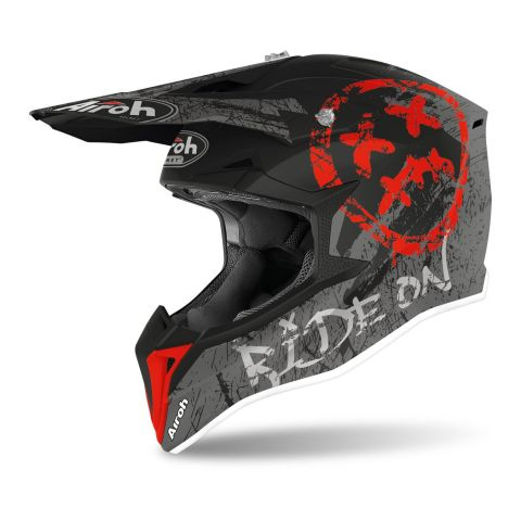 Casco Off Road Airoh Wraap Smile Red Matt
