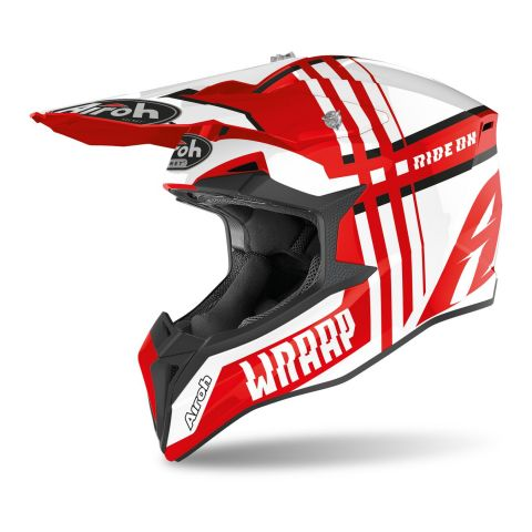 Casco Off Road Airoh Wraap Broken Red Gloss
