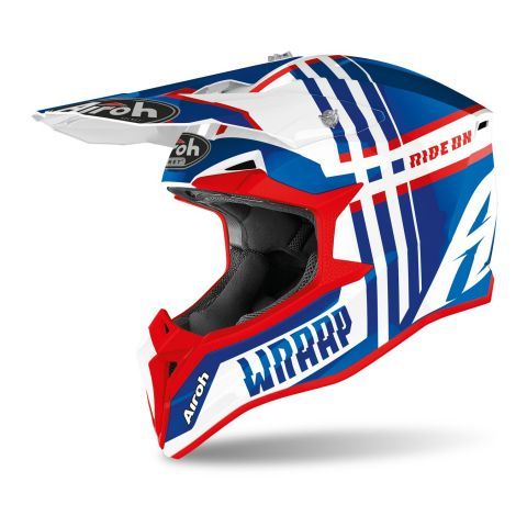 Casco Off Road Airoh Wraap Broken Blue Red Glos