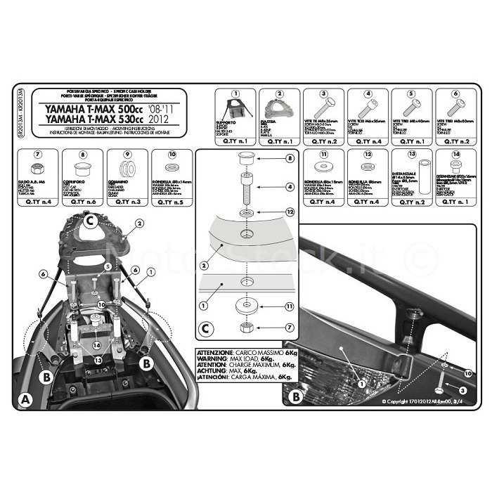 GISR2013M.jpg| PORTAPACCHI YAM.T-MAX500 08-11 GIVI COD. SR2013M